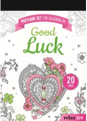POSTCARD SET FOR COLOURING IN: GOOD LUCK